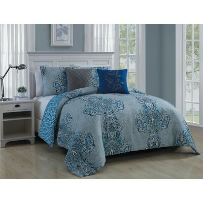 Francine 5 Piece Comforter Set Color: Blue, Size: Queen