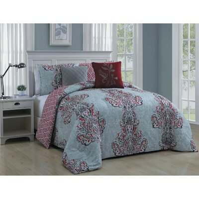 Francine 5 Piece Comforter Set Color: Red, Size: Queen