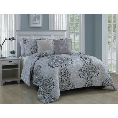 Francine 5 Piece Comforter Set Color: Taupe, Size: Queen