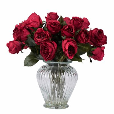 Rose Arrangement with 24 Roses in Glass Vase Color: Red