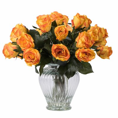 Rose Arrangement with 24 Roses in Glass Vase Color: Orange
