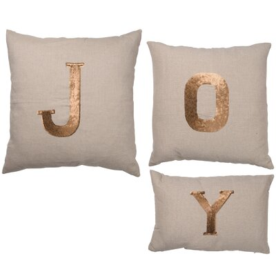 Goldsboro 3 Piece JOY Cotton Linen Throw Pillow Set