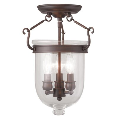 Lauder 3-Light Semi Flush Mount Size: 17 H x 12 W x 12 D, Finish: Imperial Bronze