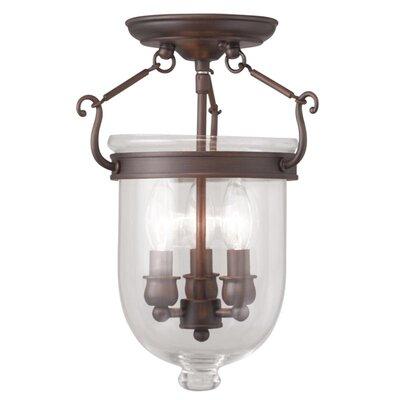 Lauder 3-Light Semi Flush Mount Size: 14 H x 10 W x 10 D, Finish: Imperial Bronze