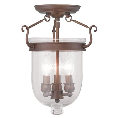 Lauder 3-Light Semi Flush Mount Size: 17 H x 12 W x 12 D, Finish: Vintage Bronze