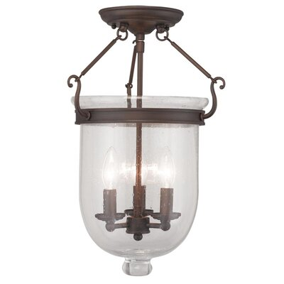 Lauder Semi Flush Mount with Seeded Glass Size: 17 H x 12 W x 12 D, Finish: Imperial Bronze