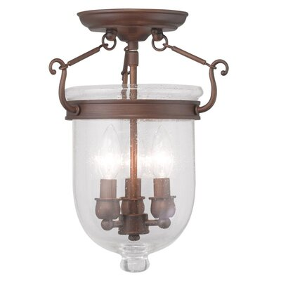 Lauder Semi Flush Mount with Seeded Glass Size: 17 H x 12 W x 12 D, Finish: Vintage Bronze