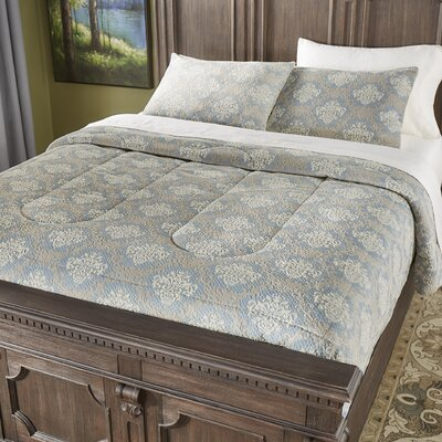 Eversole Jacquard Damask 3 Piece Comforter Set Color: Blue, Size: Queen