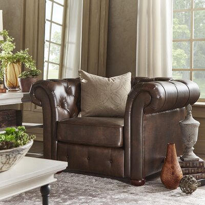 Berlin Oliver Tufted Button Rolled Arm Chair