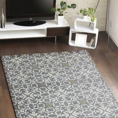 Danforth Hand-Tufted Light Grey Area Rug Rug Size: 56 x 86