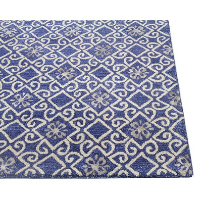 Danforth Hand-Tufted Navy Area Rug Rug Size: 5'6