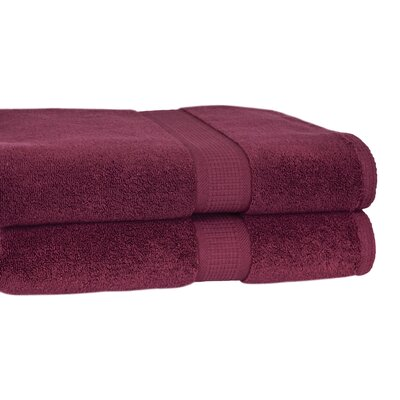 Bloomberg 100% Supima Zero-Twist Cotton Oversized Bath Sheet Color: Burgundy