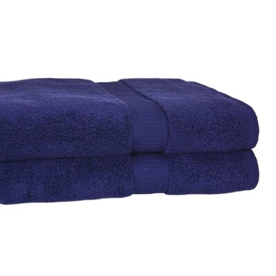 Bloomberg 100% Supima Zero-Twist Cotton Oversized Bath Sheet Color: Midnight Blue