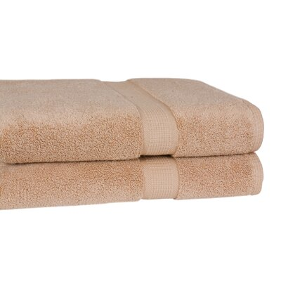 Bloomberg 100% Supima Zero-Twist Cotton Oversized Bath Sheet Color: Sand