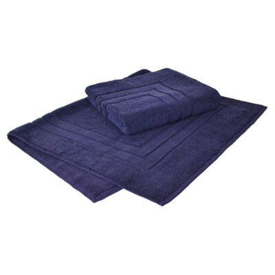 Bloomberg 100% Supima Zero-Twist Cotton Bath Mat Color: Midnight Blue