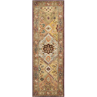 Heine Hand-Tufted Wool Orange/Beige/Green Area Rug Rug Size: Runner 26 x 12