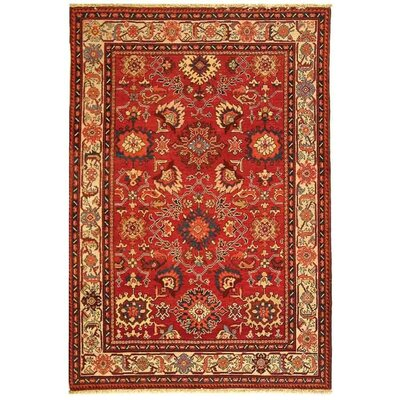Landen Hand-Knotted Red/Ivory Area Rug