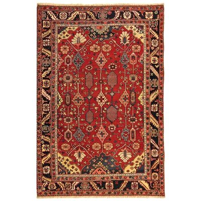 Olive Hand-Knotted Red/Navy Area Rug