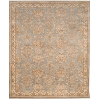 Channing Hand-Knotted Light Blue/Ivory Area Rug Rug Size: 6 x 9