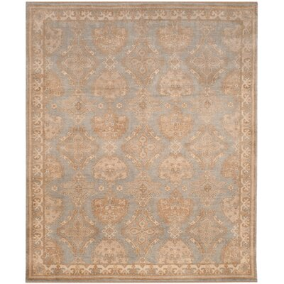 Channing Hand-Knotted Light Blue/Ivory Area Rug Rug Size: 9 x 12