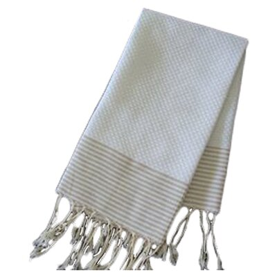Hudgens Thin Stripe Bath Towel Color: White/Beige Stripe