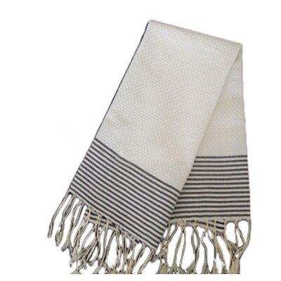 Hudgens Thin Stripe Bath Towel Color: White/Black Stripe