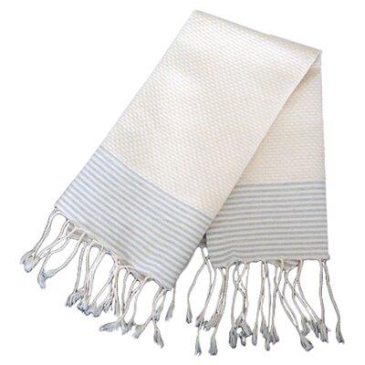 Hudgens Thin Stripe Bath Towel Color: Off White/Grey Stripe