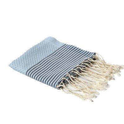 Hudgens Thin Stripe Bath Towel Color: Azur/Grey Stripe
