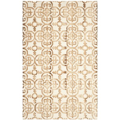Kinzer Hand-Tufted Ivory & Camel Area Rug Rug Size: 4 x 6