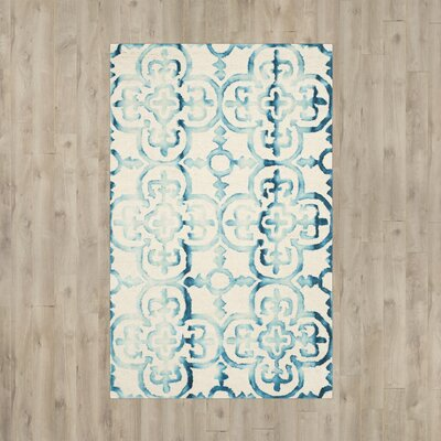 Kinzer Hand-Tufted Ivory/Turquoise Area Rug Rug Size: 3 x 5