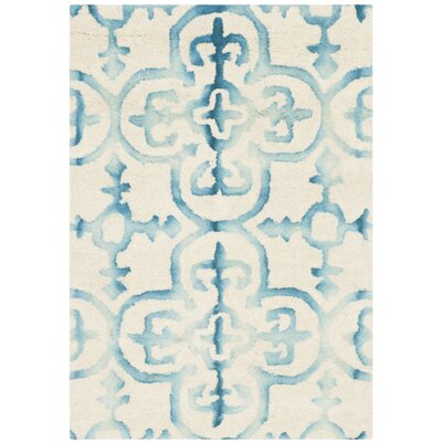 Kinzer Hand-Tufted Ivory/Turquoise Area Rug Rug Size: 2 x 3