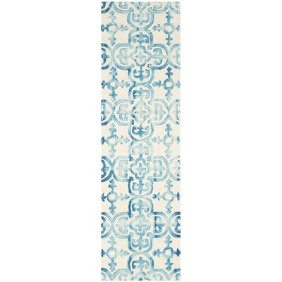 Naples Park Hand-Tufted Ivory/Turquoise Area Rug Rug Size: Runner 23 x 8