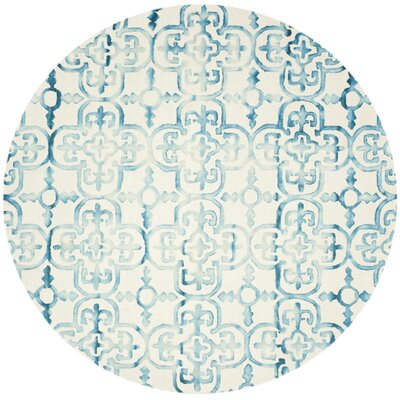 Naples Park Hand-Tufted Ivory/Turquoise Area Rug Rug Size: Round 7 x 7