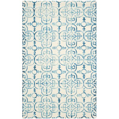 Kinzer Hand-Tufted Ivory/Turquoise Area Rug Rug Size: 5 x 8