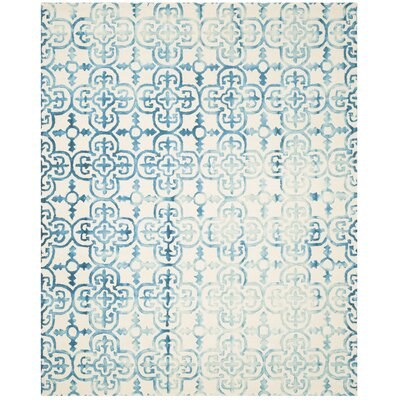 Kinzer Hand-Tufted Ivory/Turquoise Area Rug Rug Size: 8 x 10