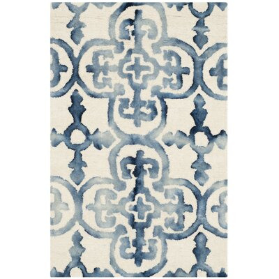 Kinzer Hand-Tufted Ivory/Navy Area Rug Rug Size: 2 x 3