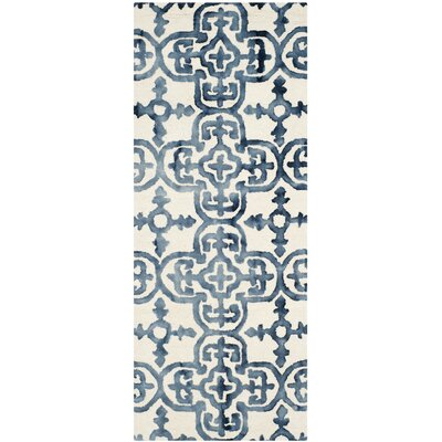 Naples Park Hand-Tufted Ivory/Navy Area Rug Rug Size: Runner 23 x 6