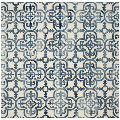 Naples Park Hand-Tufted Ivory/Navy Area Rug Rug Size: Square 7 x 7