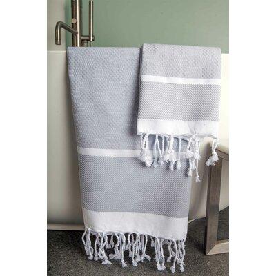 Hudgens Plaid Jacquard Beach Towel Color: Gray/White