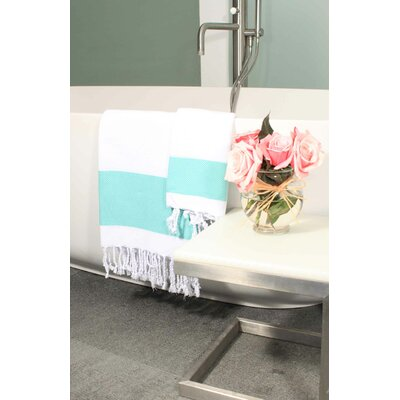 Hudgens Plaid Jacquard Beach Towel Color: White/Aqua