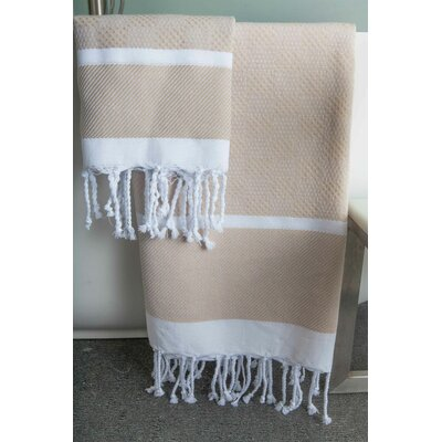 Hudgens Plaid Jacquard Beach Towel Color: White/Beige