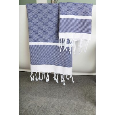 Hudgens Plaid Jacquard Beach Towel Color: Navy/White