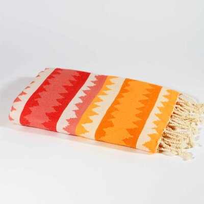 Hudgens Ethnic Stripe Beach Towel Color: Strawberry/Orange