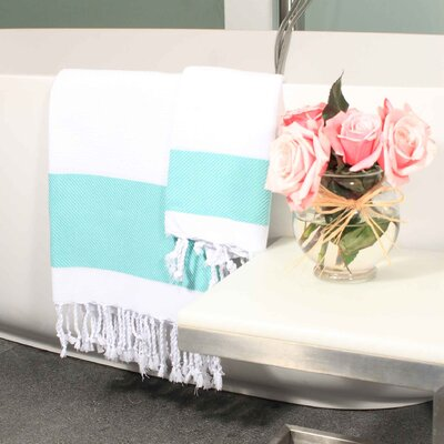Hudgens Plaid Jacquard Guest Hand Towel Color: White / Aqua