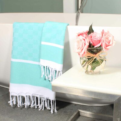 Hudgens Plaid Jacquard Guest Hand Towel Color: Aqua / White