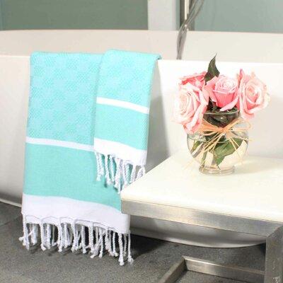 Hudgens Plaid Jacquard Guest Hand Towel Color: Aqua / White