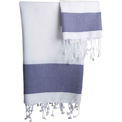 Hudgens Plaid Jacquard Guest Hand Towel Color: White / Navy