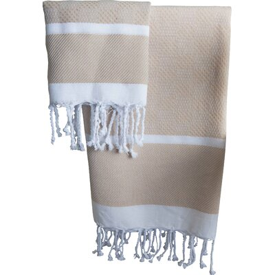Hudgens Plaid Jacquard Guest Hand Towel Color: Beige / White