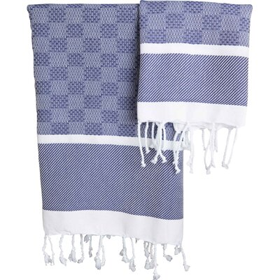 Hudgens Plaid Jacquard Guest Hand Towel Color: Navy / White