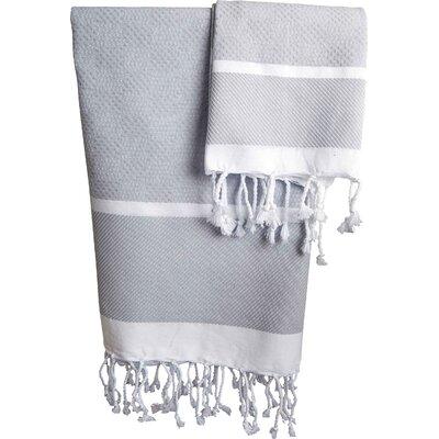 Hudgens Plaid Jacquard Guest Hand Towel Color: Gray / White